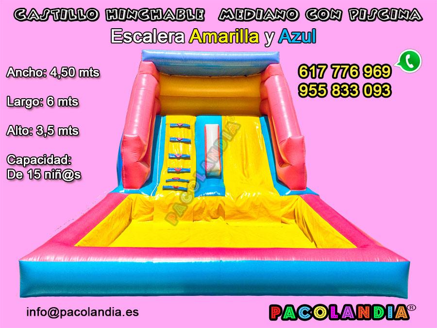 28-Castillo Hinchable con Piscina. Escalera-Amarilla y Azul.